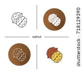 walnut icon. flat design ... | Shutterstock .eps vector #718129390