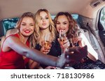 pretty women having party in a... | Shutterstock . vector #718130986