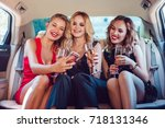 pretty women having party in a... | Shutterstock . vector #718131346