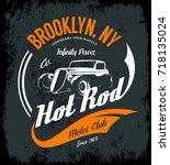 vintage hot rod vector tee... | Shutterstock .eps vector #718135024