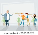 vector illustration of a pizza... | Shutterstock .eps vector #718135873
