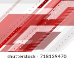 red and grey tech minimal... | Shutterstock .eps vector #718139470