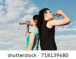 asian couple man and woman... | Shutterstock . vector #718139680