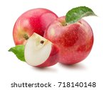 red apples with slice isolated... | Shutterstock . vector #718140148