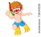 vector illustration of cute boy ...   Shutterstock .eps vector #718143220