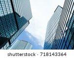 skyline with business... | Shutterstock . vector #718143364