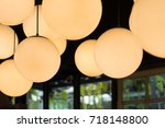 round lamp electric light home... | Shutterstock . vector #718148800