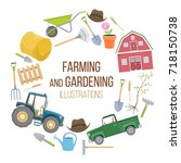 set of colorful farming... | Shutterstock . vector #718150738