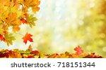 beautiful autumn landscape.... | Shutterstock . vector #718151344