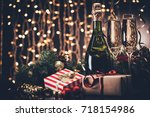 selective focus of glasses and... | Shutterstock . vector #718154986