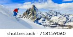 skiing with amazing view of... | Shutterstock . vector #718159060