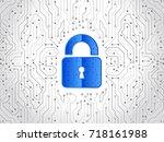 abstract high tech circuit... | Shutterstock .eps vector #718161988