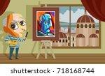 cubist cute cartoon painter in