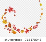 bright autumn leaves spiral on... | Shutterstock .eps vector #718170043