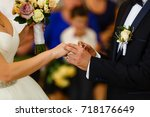 bride and groom close up at... | Shutterstock . vector #718176649