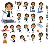 set of various poses of... | Shutterstock .eps vector #718178584