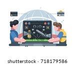 earn money in online computer... | Shutterstock .eps vector #718179586