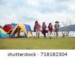 group of friends asian camp... | Shutterstock . vector #718182304