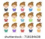 set of cartoon cute caucasian... | Shutterstock .eps vector #718184638