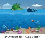 sea life vector | Shutterstock .eps vector #718184854