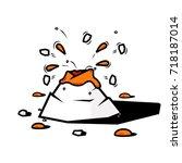 small erupting volcano | Shutterstock .eps vector #718187014