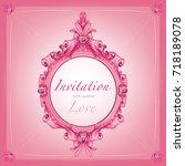 pink vintage wedding invitation ... | Shutterstock .eps vector #718189078