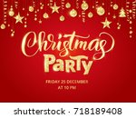 christmas party poster template.... | Shutterstock .eps vector #718189408