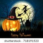 halloween spooky background | Shutterstock .eps vector #718191523
