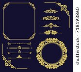 set of vintage elements. frames ... | Shutterstock .eps vector #718193860