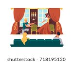 theatrical performance on stage.... | Shutterstock .eps vector #718195120