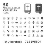 set of 50 minimal and solid... | Shutterstock .eps vector #718195504