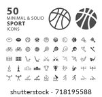 set of 50 minimal and solid... | Shutterstock .eps vector #718195588
