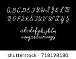 hand drawn fonts. handwritten ... | Shutterstock .eps vector #718198180