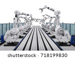 3d rendering robot arms with... | Shutterstock . vector #718199830
