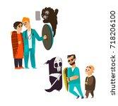 vector flat male doctor holding ... | Shutterstock .eps vector #718206100