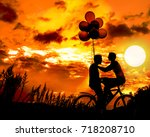 silhouette of two beautiful... | Shutterstock . vector #718208710