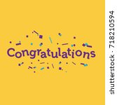congratulations banner with... | Shutterstock .eps vector #718210594