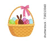 Basket With Easter Eggs. Vector