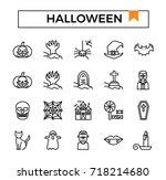 halloween icon set.   Shutterstock .eps vector #718214680