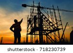 work safety officer or civil...   Shutterstock . vector #718230739