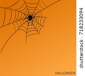 spider on web on halloween... | Shutterstock .eps vector #718233094