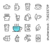 black line coffee and tea icons ... | Shutterstock . vector #718233739