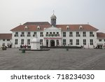 The front view of the Jakarta History Museum (Batavia Museum) located in the Old Town (Kota Tua) of Jakarta, Indonesia.