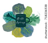 hello spring. watercolor vector ... | Shutterstock .eps vector #718236538
