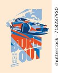 burnout car  japanese drift... | Shutterstock .eps vector #718237930
