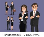 a set of business couple... | Shutterstock .eps vector #718237993