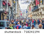 istanbul  turkey   crowds of... | Shutterstock . vector #718241194