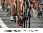 cycling competition cyclist... | Shutterstock . vector #718242394