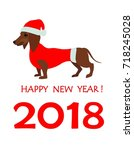 greeting card for 2018 new year ... | Shutterstock .eps vector #718245028