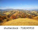 colorful autumn landscape with... | Shutterstock . vector #718245910